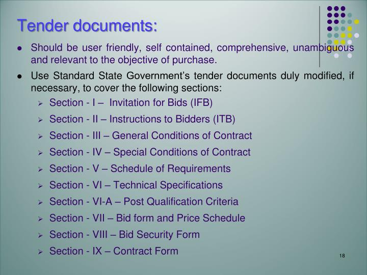 Tender documents: