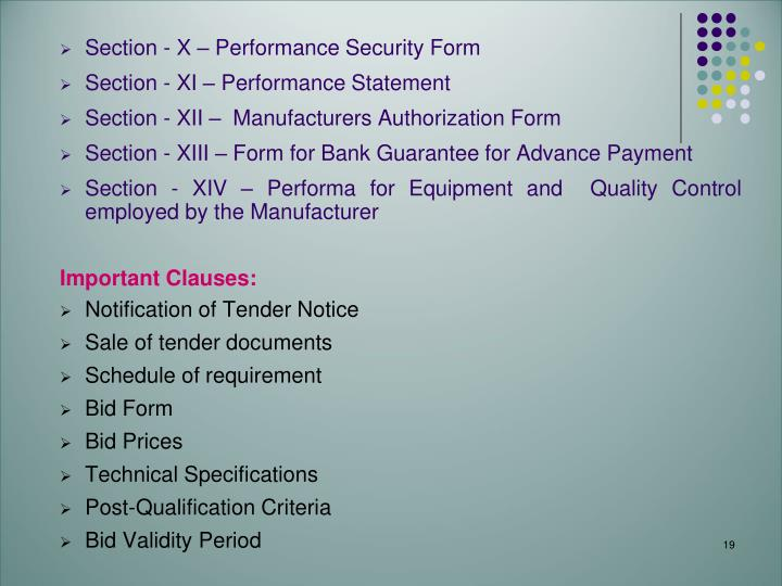 Section - X – Performance Security Form