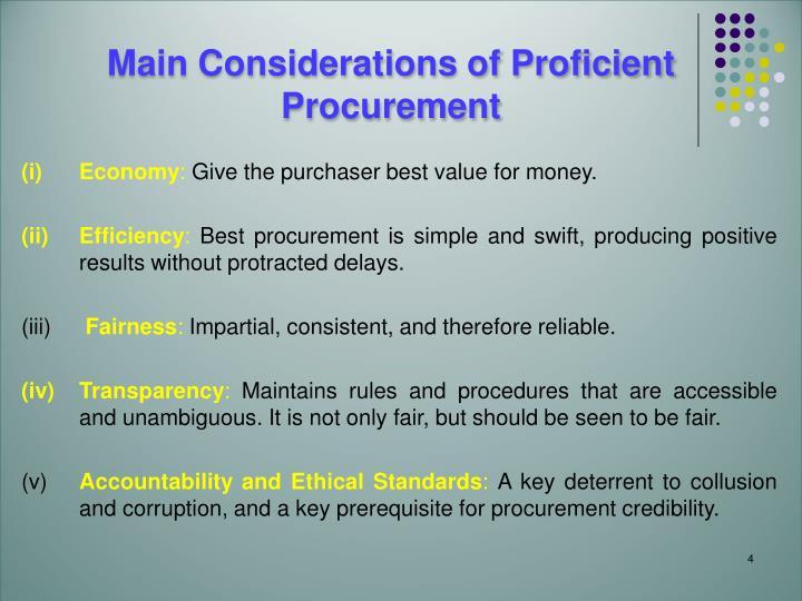Main Considerations of Proficient Procurement