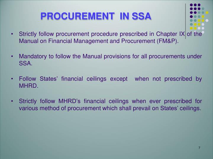 PROCUREMENT  IN SSA
