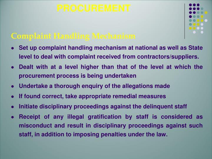 Complaint Handling Mechanism