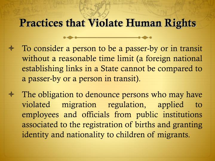 Practices that Violate Human Rights