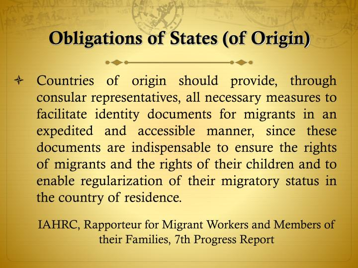 Obligations of States (of Origin)