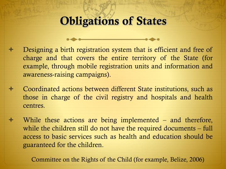 Obligations of States