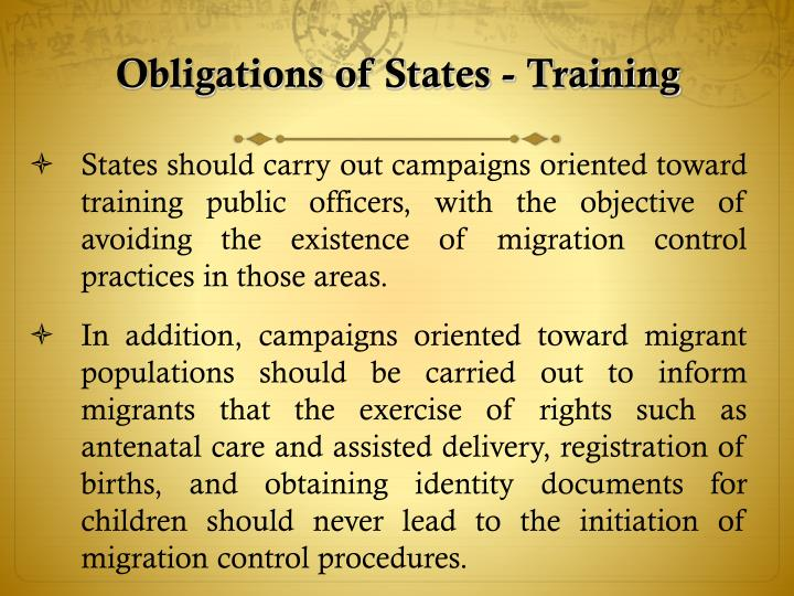 Obligations of States - Training