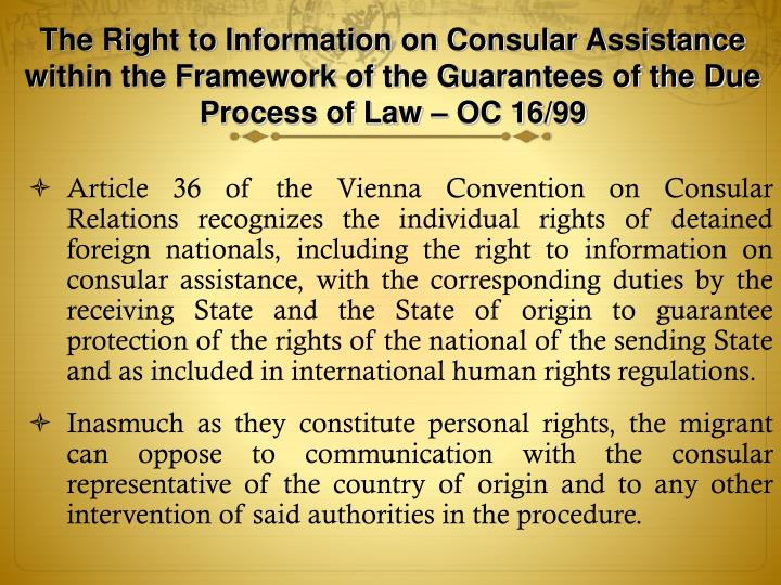 The Right to Information on Consular Assistance within the Framework of the Guarantees of the Due Process of Law – OC 16/99