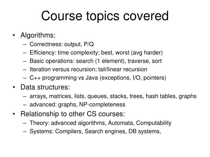 Course topics covered