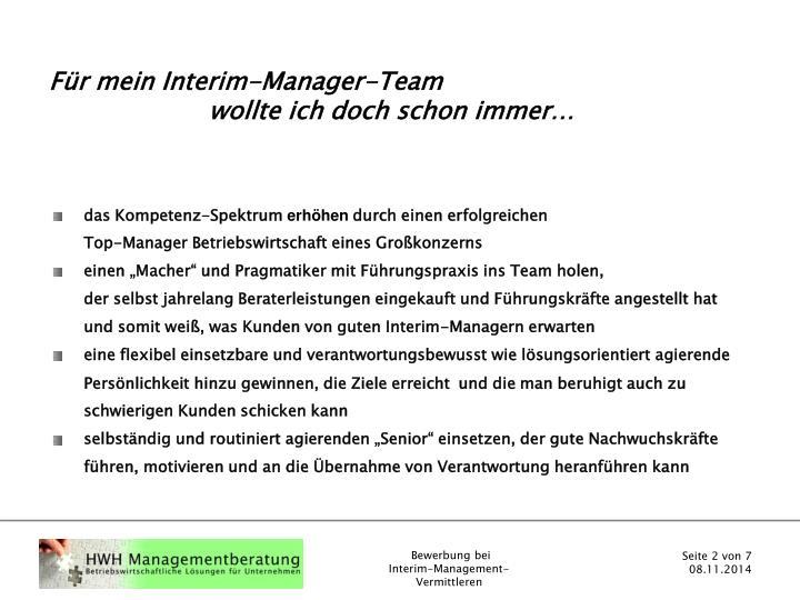 Für mein Interim-Manager-Team