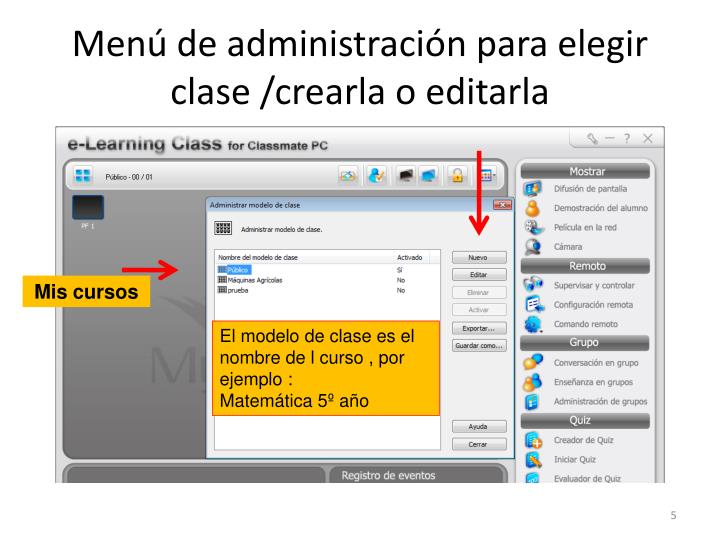 Menú de administración para elegir clase /crearla o editarla