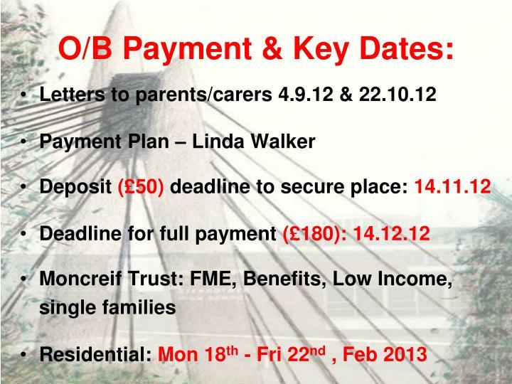 O/B Payment & Key Dates:
