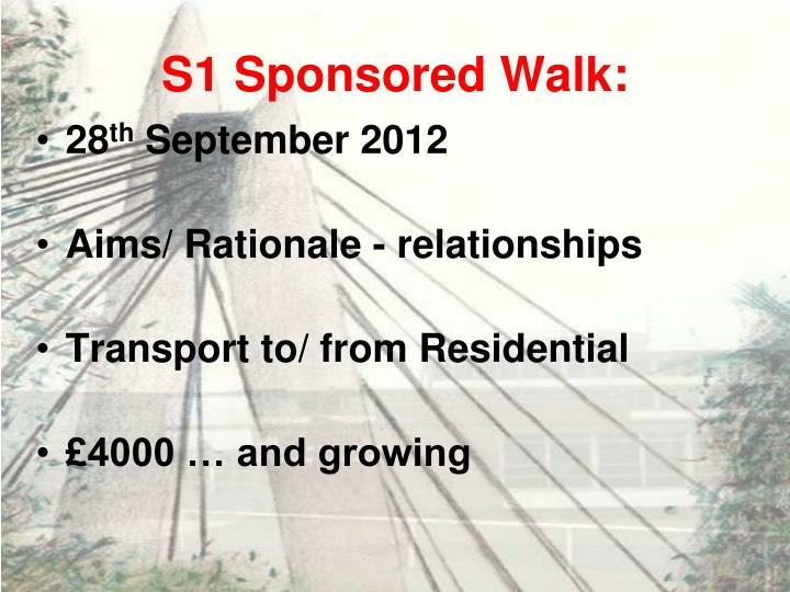 S1 Sponsored Walk: