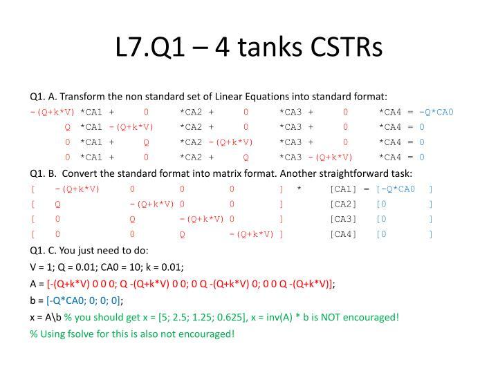 L7.Q1 – 4 tanks CSTRs