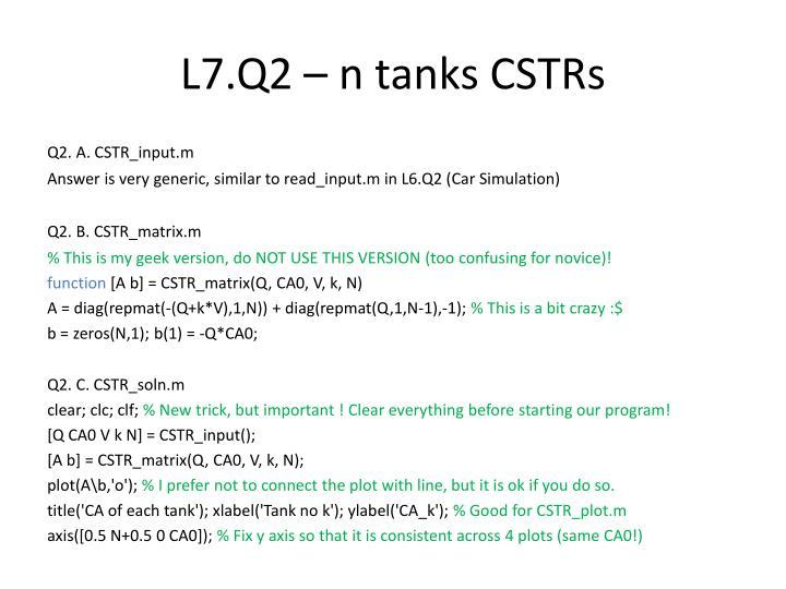 L7.Q2 – n tanks CSTRs