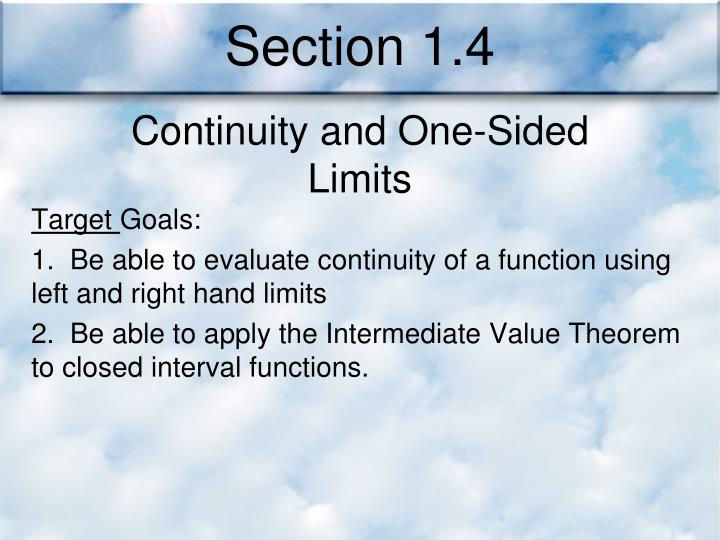 Section 1.4
