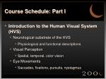 course schedule part i