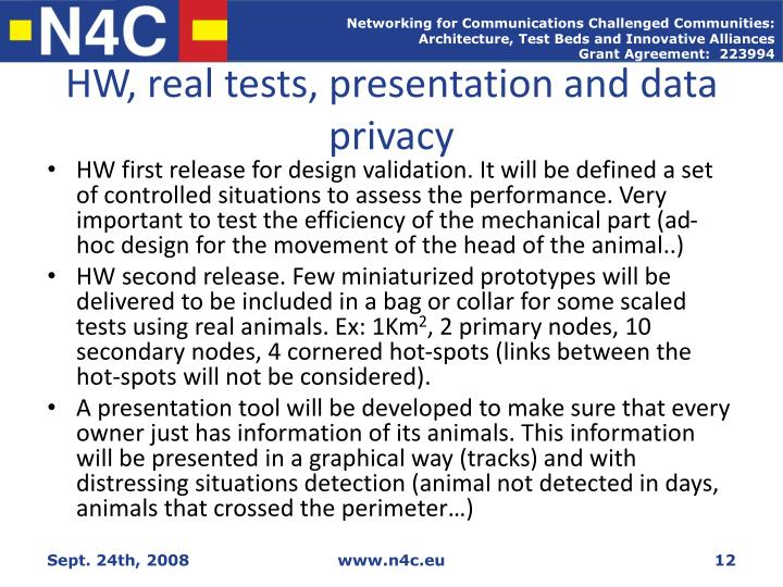 HW, real tests, presentation and data privacy