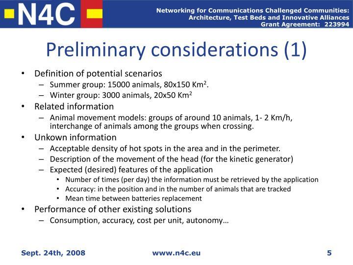 Preliminary considerations (1)