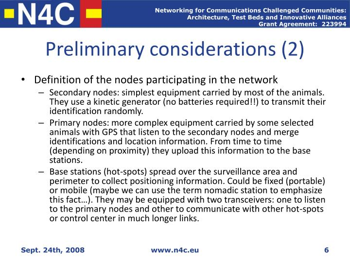 Preliminary considerations (2)
