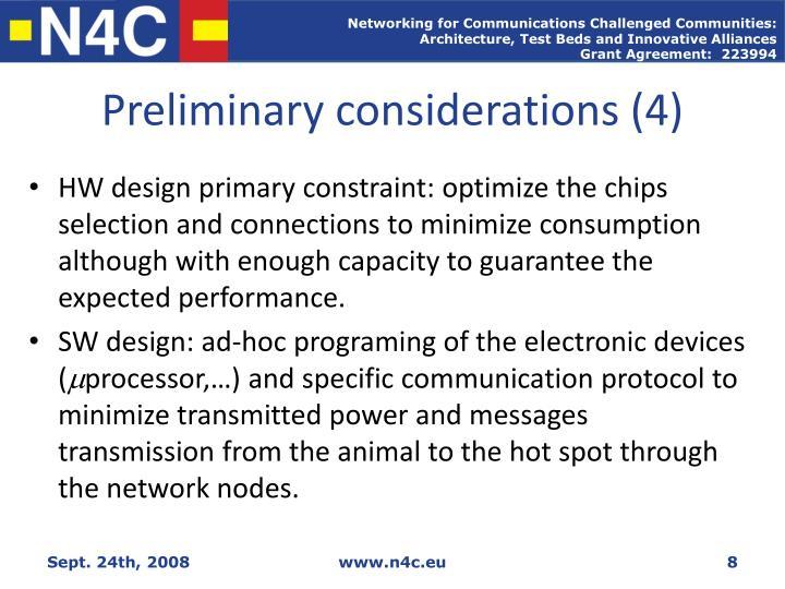 Preliminary considerations (4)