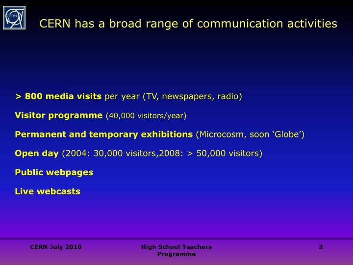 CERN has a broad range of communication activities
