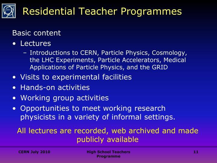 Residential Teacher Programmes