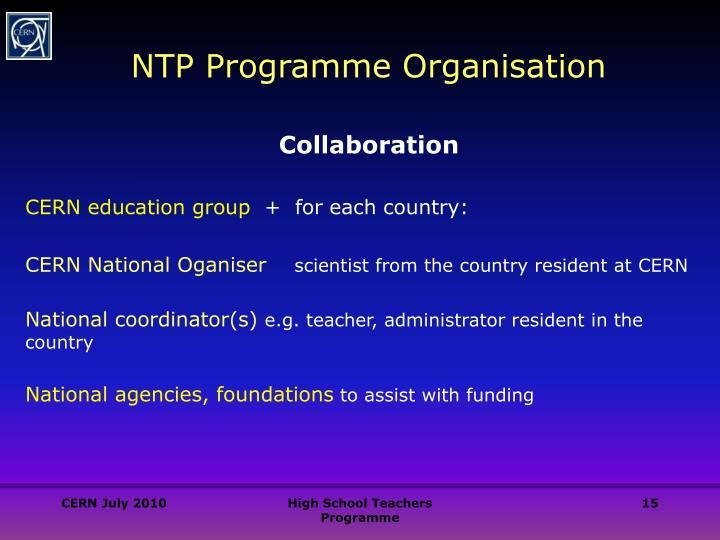 NTP Programme Organisation