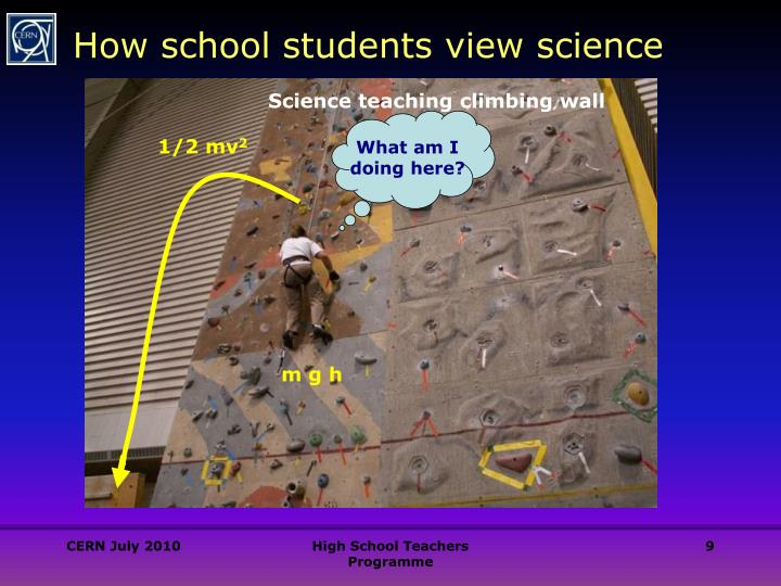 Science teaching climbing wall