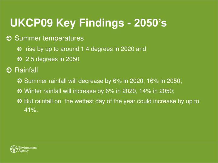 UKCP09 Key Findings - 2050's