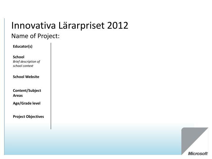 Innovativa Lärarpriset 2012
