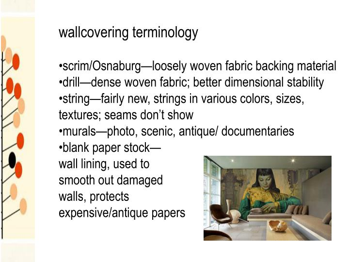 wallcovering terminology