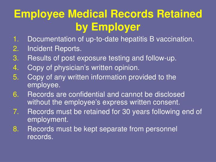 Employee Medical Records Retained by Employer
