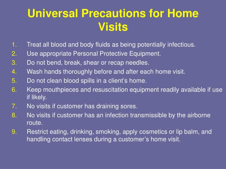 Universal Precautions for Home Visits