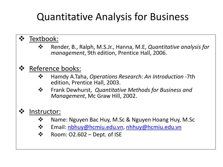 Ppt - Quantitative Analysis For Business Powerpoint Presentation