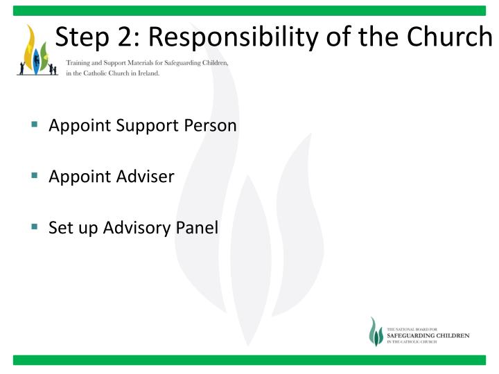 Step 2: Responsibility of the Church
