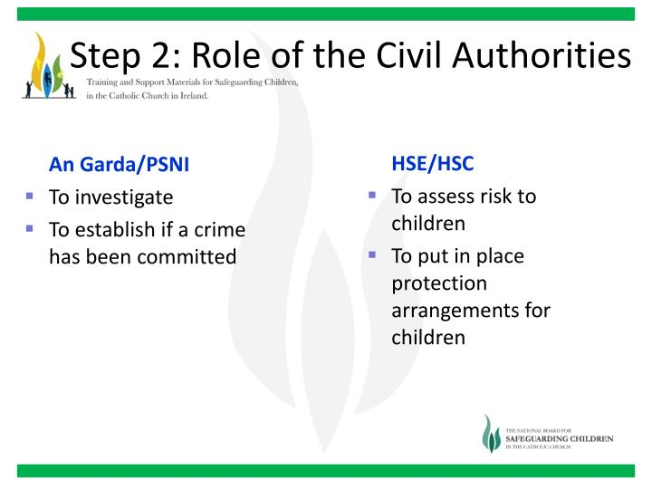Step 2: Role of the Civil Authorities