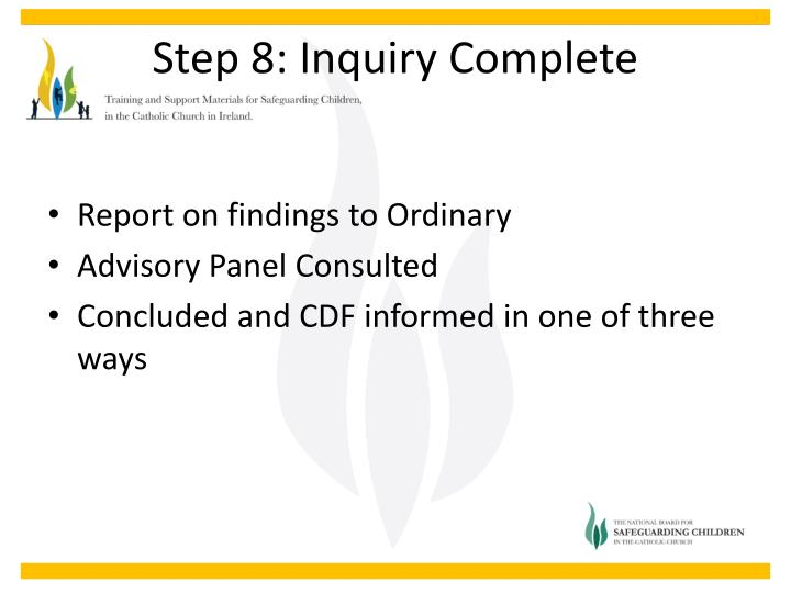 Report on findings to Ordinary