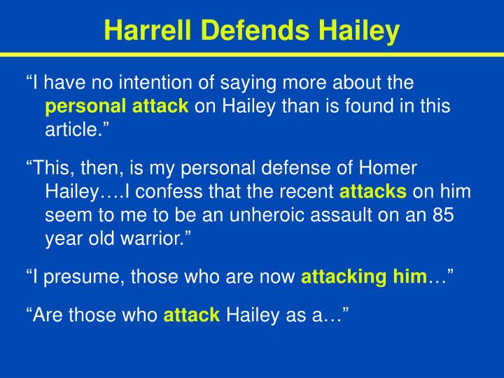 Harrell Defends Hailey