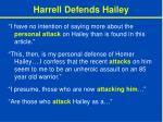 harrell defends hailey
