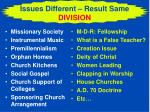 issues different result same division