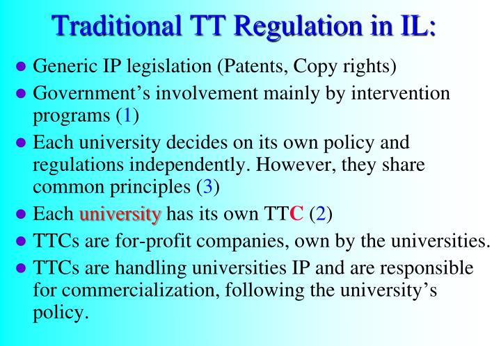 Traditional TT Regulation in IL:
