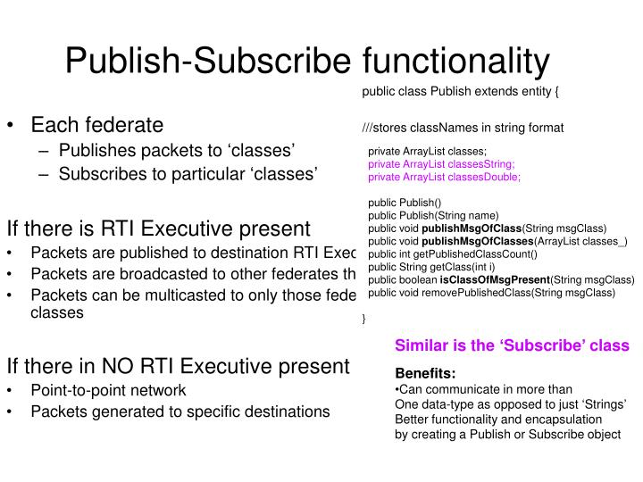 Publish-Subscribe functionality