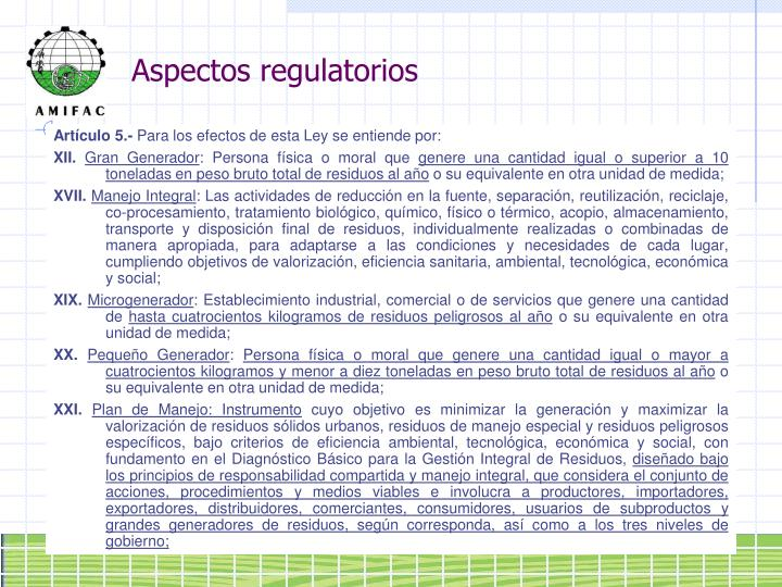Aspectos regulatorios