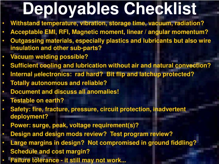 Deployables Checklist