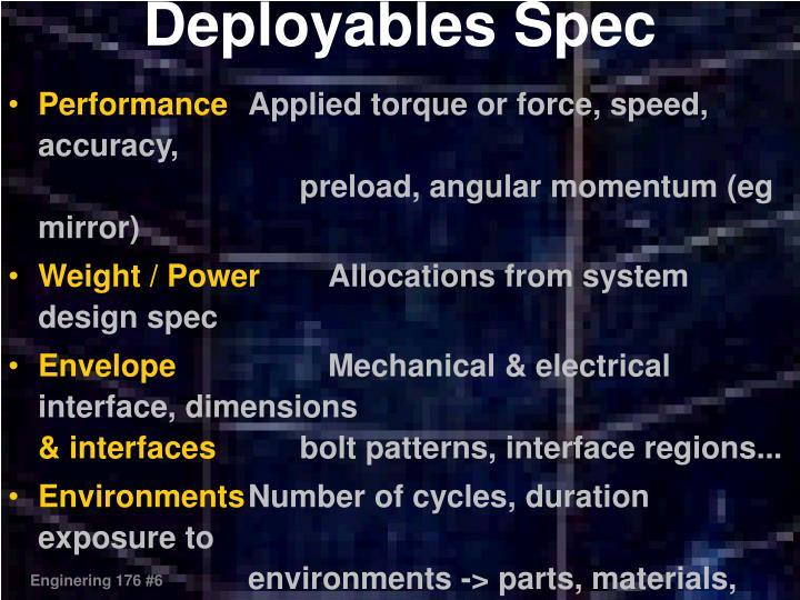 Deployables Spec