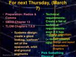 for next thursday march 7
