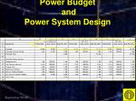 power budget and power system design