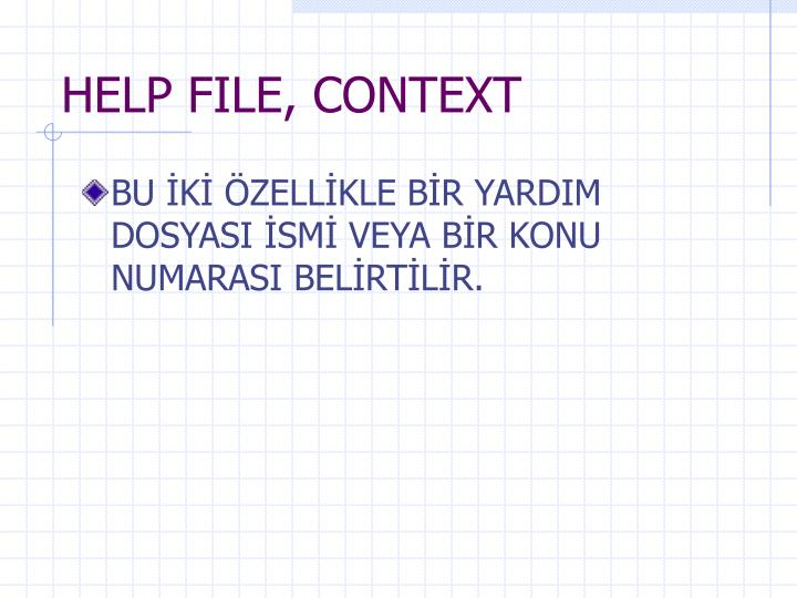 HELP FILE, CONTEXT