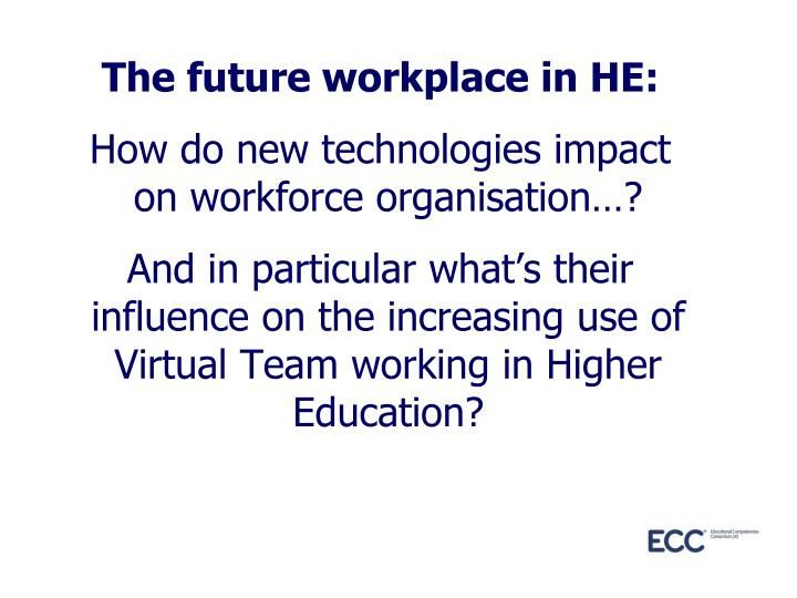 The future workplace in HE: