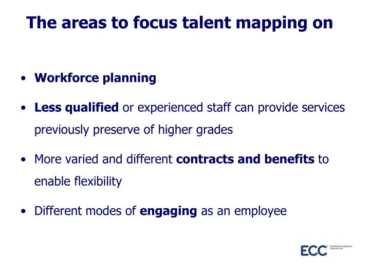 The areas to focus talent mapping on