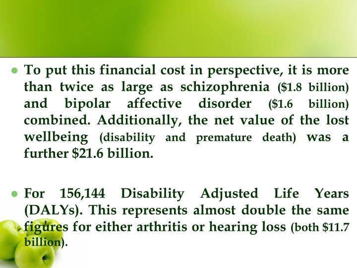 To put this financial cost in perspective, it is more than twice as large as schizophrenia